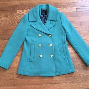 J.Crew Tiffany Blue Pea Coat Size 8